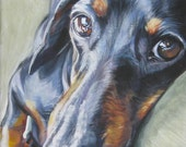 Dachshund portrait CANVAS print of LA Shepard painting 8x10 dog art