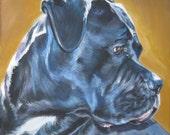 """Cane Corso portrait CANVAS print of LA Shepard painting 8x8"""" dog art"""