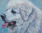Great Pyrenees dog art CANVAS print by LA Shepard painting 8x10 portrait
