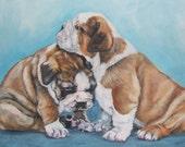 "ENGLISH BULLDOG dog puppy art portrait canvas PRINT of LAShepard painting 8x10"""