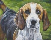 English Foxhound dog art CANVAS print of LA Shepard painting 8x10 portrait