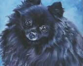 black Pomeranian dog art portrait CANVAS print of LA Shepard painting 8x8