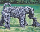 Kerry BlueTerrier dog art CANVAS print of LA Shepard painting 12x16