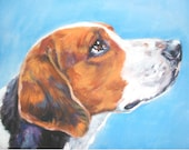 AMERICAN FOXHOUND dog portrait art canvas PRINT of LAShepard painting 8x10""