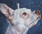 Chihuahua art CANVAS print of LA Shepard painting 12x16 dog portrait