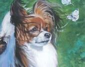 Papillon Dog art canvas print of LA Shepard painting 12x12 portrait