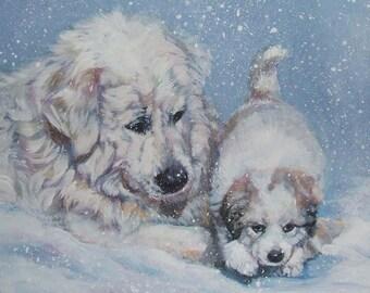 Great Pyrenees art CANVAS print of LA Shepard painting 8x10 dog art