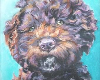 """Lagotto Romagnolo DOG PORTRAIT art canvas PRINT of LAShepard painting 8x8"""""""
