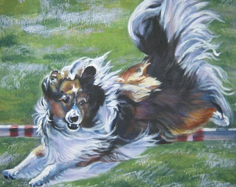 SHETLAND SHEEPDOG sheltie dog art canvas PRINT of LAShepard painting 12x12""