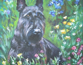 Scottish Terrier scottie dog art CANVAS print of LA Shepard painting 12x12