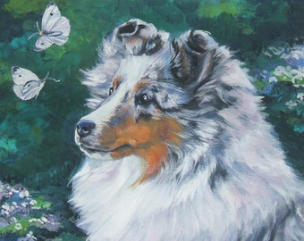 Shetland sheepdog sheltie dog art portrait CANVAS print of LA Shepard painting 11x14