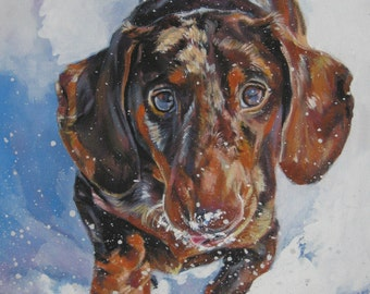 Dachshund art CANVAS print of LA Shepard painting 8x10 dog art
