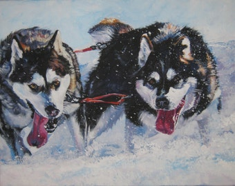 Alaskan Malamute art canvas print of LAShepard dog sled painting 11x14