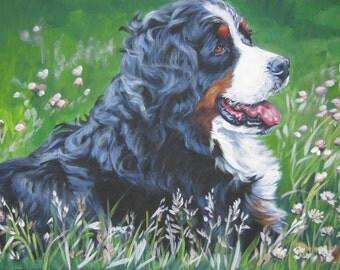 Bernese Mountain Dog art CANVAS print of LA Shepard painting 8x10 portrait