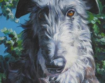 "Scottish DEERHOUND dog PORTRAIT art canvas PRINT of LAShepard painting 11x14"""