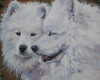 Samoyed dog art CANVAS print of LA Shepard painting 12x12