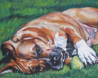 "American STAFFORDSHIRE TERRIER dog portrait art canvas PRINT of LAShepard painting 8x10"""