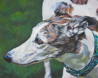 Greyhound portrait CANVAS print of LA Shepard painting 12x16 dog art