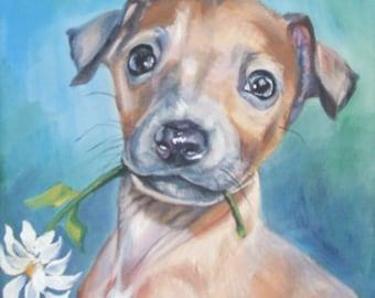 Italian Greyhound dog art CANVAS print of LA Shepard painting 8x8