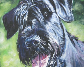 Giant schnauzer dog art portrait CANVAS print of LA Shepard painting 8x8