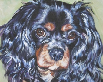 cavalier king charles spaniel dog art canvas art print of LA Shepard 11x14