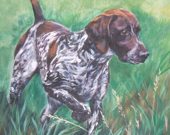 German Shorthaired pointer gsp art CANVAS print of LA Shepard painting 8x8 dog art