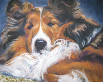 Shetland Sheepdog sheltie dog art CANVAS print of LA Shepard painting 8x10