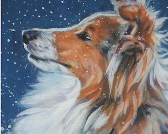 Shetland Sheepdog sheltie portrait CANVAS print of LA Shepard painting 8x10 dog art