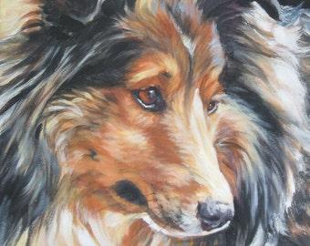 Shetland Sheepdog sheltie portrait CANVAS print of LA Shepard painting 11x14 dog art