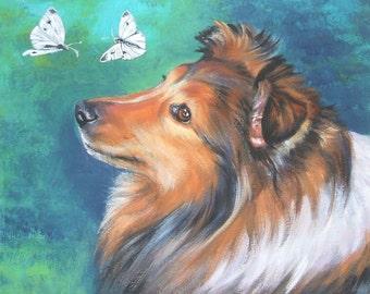 Shetland Sheepdog Sheltie dog art CANVAS print of LA Shepard painting 11x14