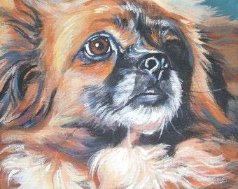 Tibetan Spaniel art portrait CANVAS print of LA Shepard painting 8x8 dog art