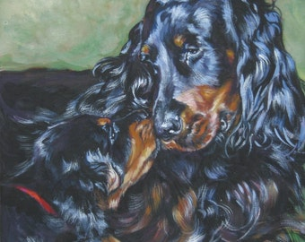 GORDON Setter dog PORTRAIT art canvas PRINT of LAShepard painting 12x12""