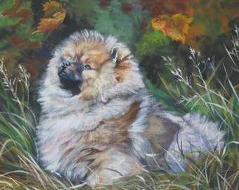 red pomeranian dog art CANVAS print of LA Shepard painting 12x16