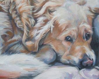 "Golden Retriever DOG art PORTRAIT canvas PRINT of LAShepard painting 8x8"""