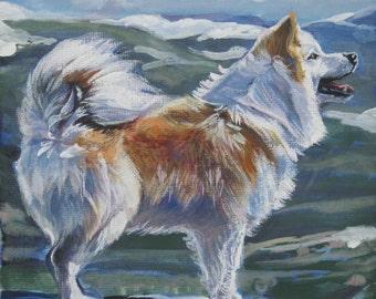 Icelandic Sheepdog art print CANVAS print of LA Shepard painting 8x8