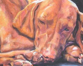 vizsla portrait CANVAS print of LA Shepard painting 12x12 dog art