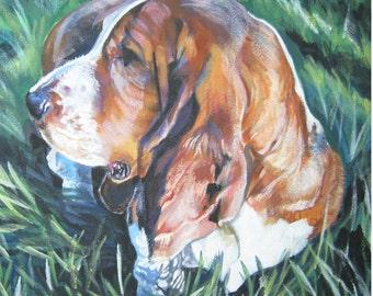 Basset Hound dog art CANVAS print of LA Shepard dog painting 12x12