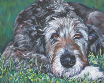 Irish Wolfhound art canvas print of LA Shepard painting 12x16 dog art