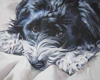 Havanese portrait CANVAS print of LA Shepard painting 8x10 dog art