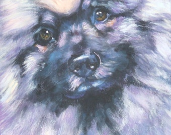 Keeshond dog portrait CANVAS print of LA SHEPARD painting 8x8 dog art