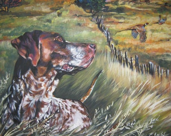 German Shorthaired Pointer GSP dog portrait art canvas PRINT of LAShepard painting 8x10""