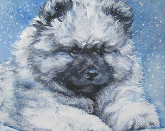 "Keeshond dog portrait art canvas PRINT of LAShepard painting 12x12"" winter pup"
