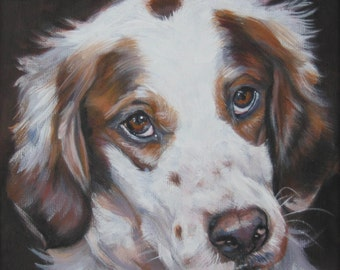 Irish Red And White Setter Dog art canvas print of LA Shepard painting 12x12