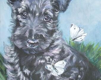 Scottie Scottish Terrier portrait CANVAS print of LA Shepard painting 8x10 dog art