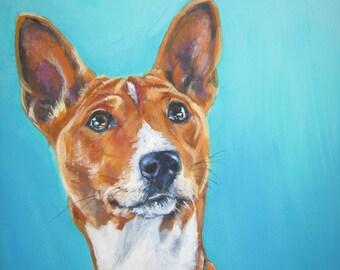 Basenji dog portrait CANVAS print of LA Shepard painting 12x16 dog art