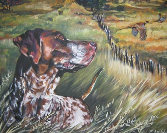 """GSP German Shorthaired Pointer dog ART canvas PRINT of LAShepard painting 12x16"""""""