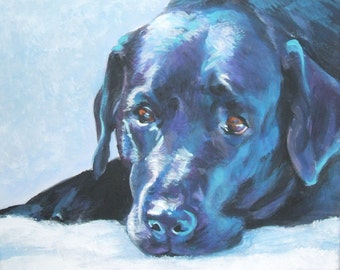 black LABRADOR RETRIEVER dog art portrait canvas PRINT of LAShepard painting 8x10""