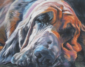 Bloodhound dog portrait CANVAS print of LA Shepard painting 8x10 dog art