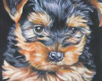 Yorkshire Terrier yorkie portrait CANVAS print of LA Shepard painting  8x10 dog art