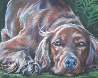 "IRISH SETTER dog portrait art canvas PRINT of LAShepard painting 11x14"""